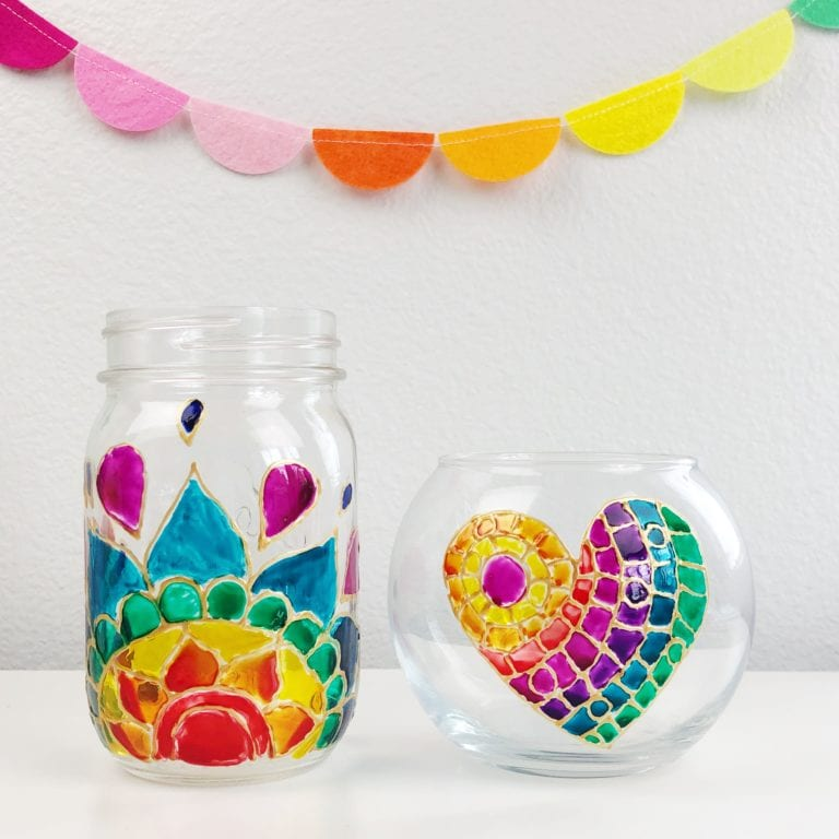 How to Paint Stained Glass Jars and Vases