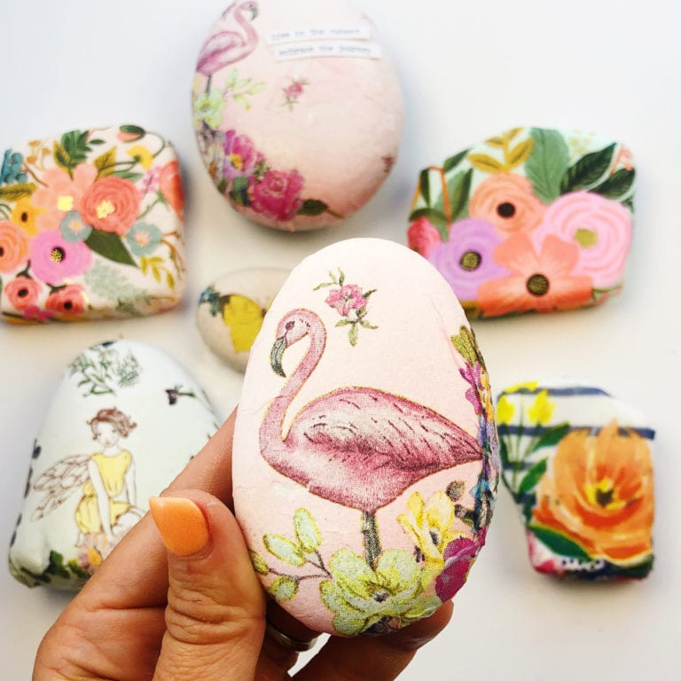 How to Decoupage Napkins on Rocks
