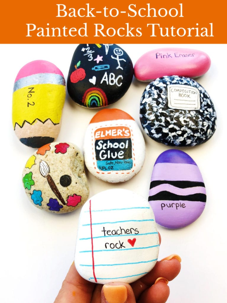 Back to school painted rocks tutorial