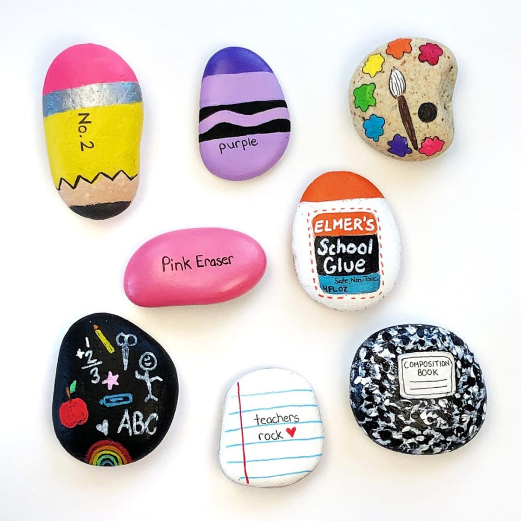 School Supplies Painted Rock Ideas
