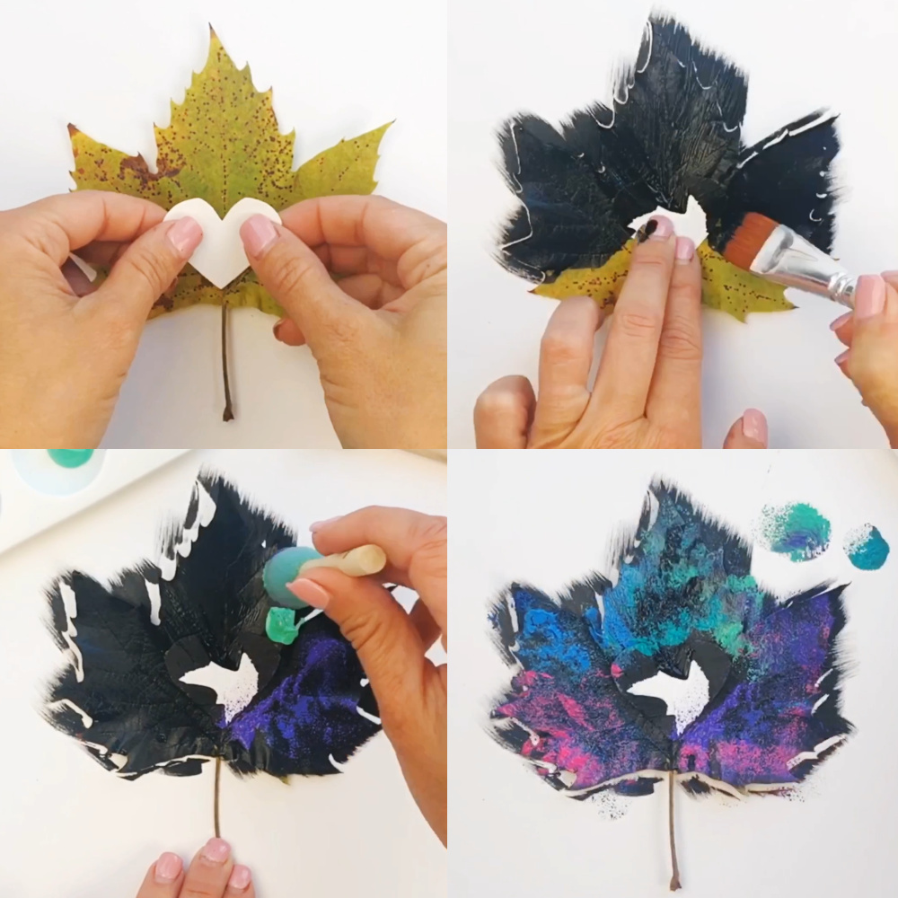 How to paint galaxy leaves