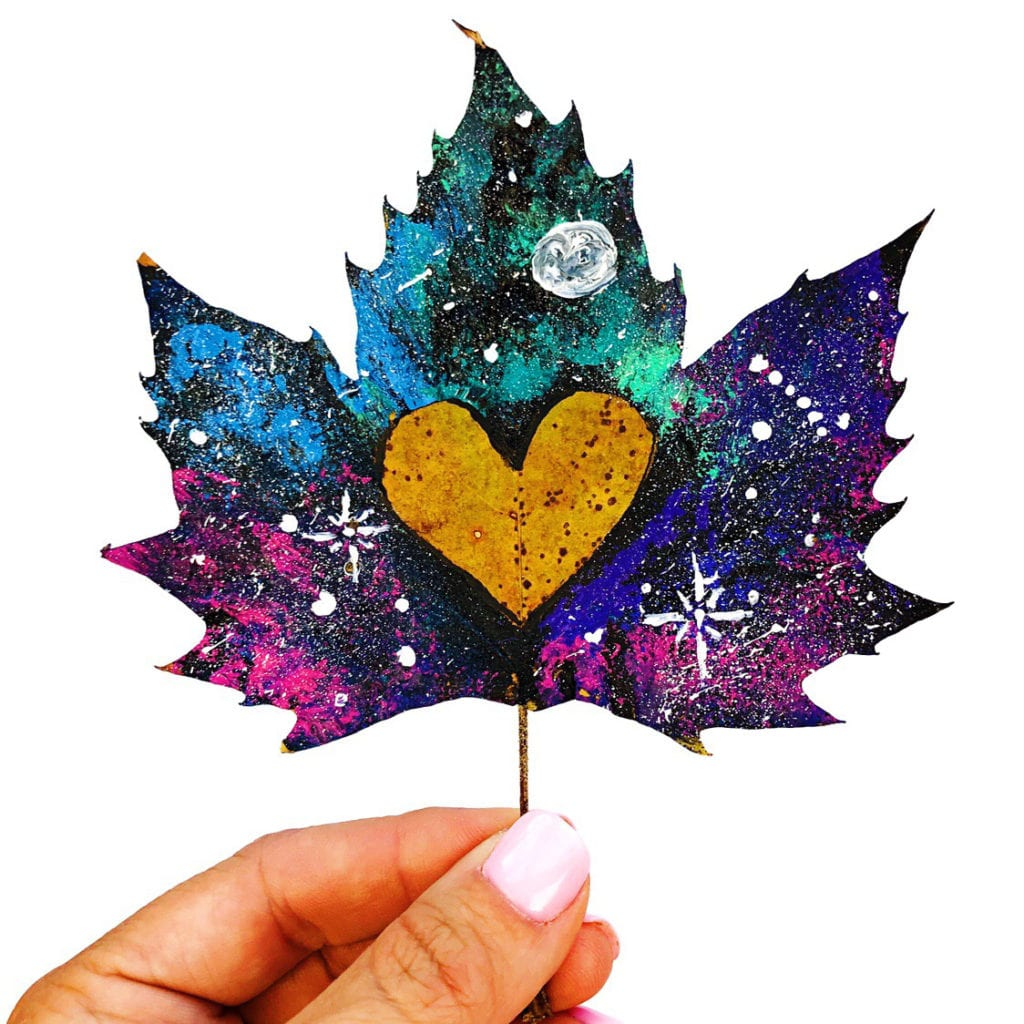 Galaxy Painted Leaves