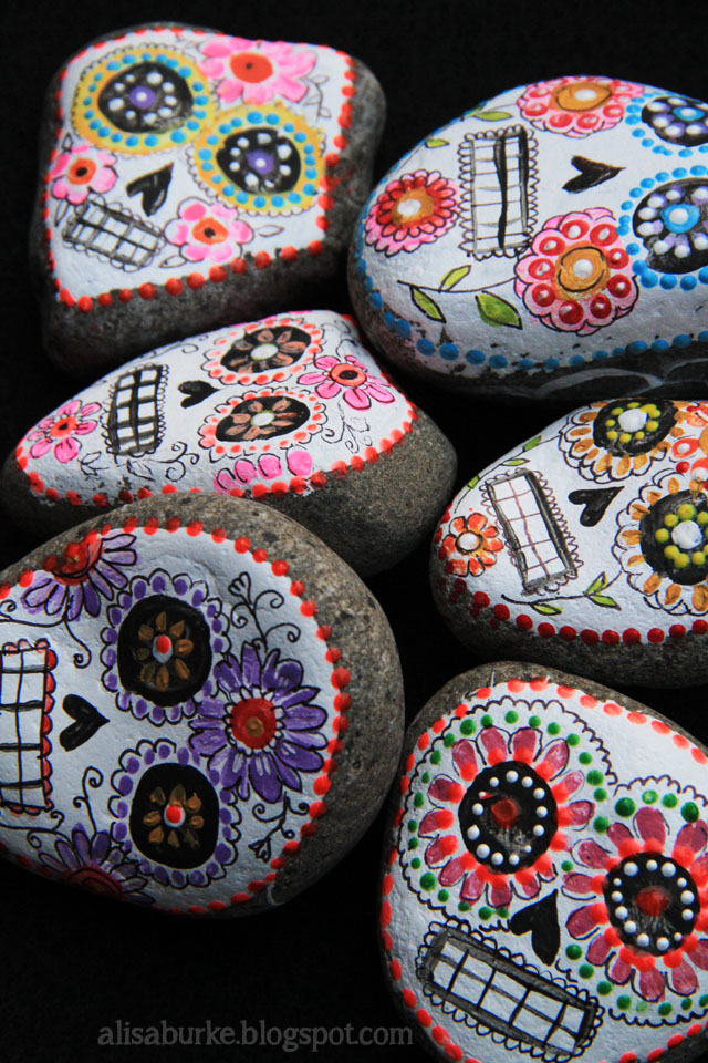Sugar Skull Halloween Painted Rocks