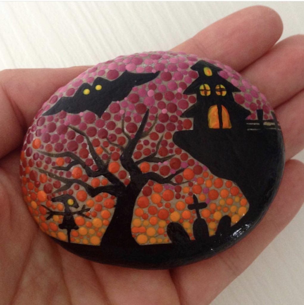 Haunted House Halloween Painted Rock