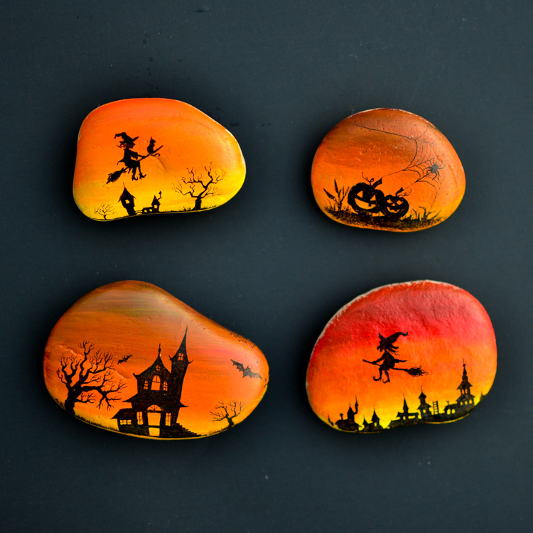 Silhouette Halloween Painted Rocks