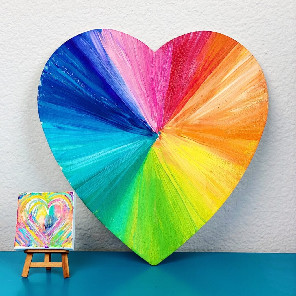 Abstract Painted Heart Art Projects