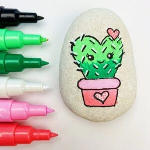 Cactus Painted Rock Tutorial thumbnail