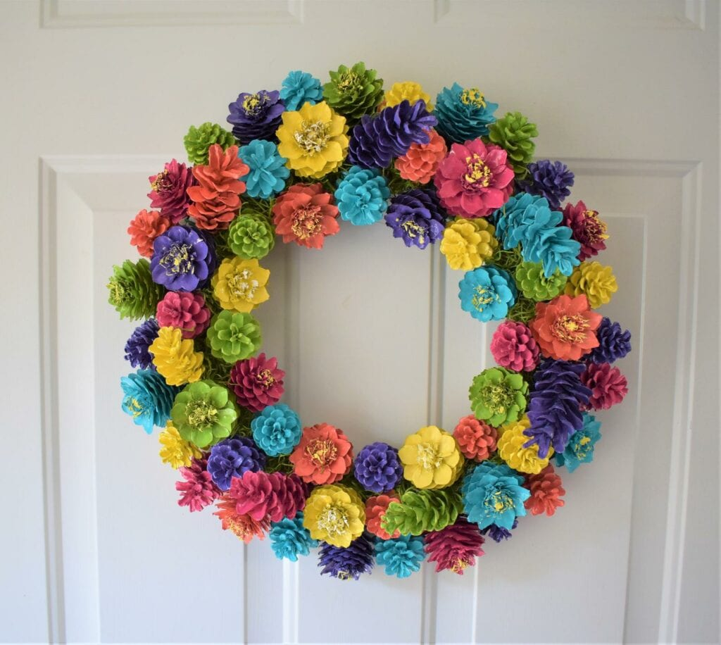 Colorful Pinecone Wreath Craft