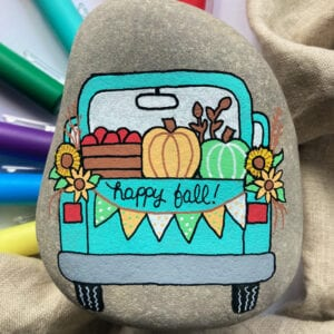 Fall Truck Painted Rock