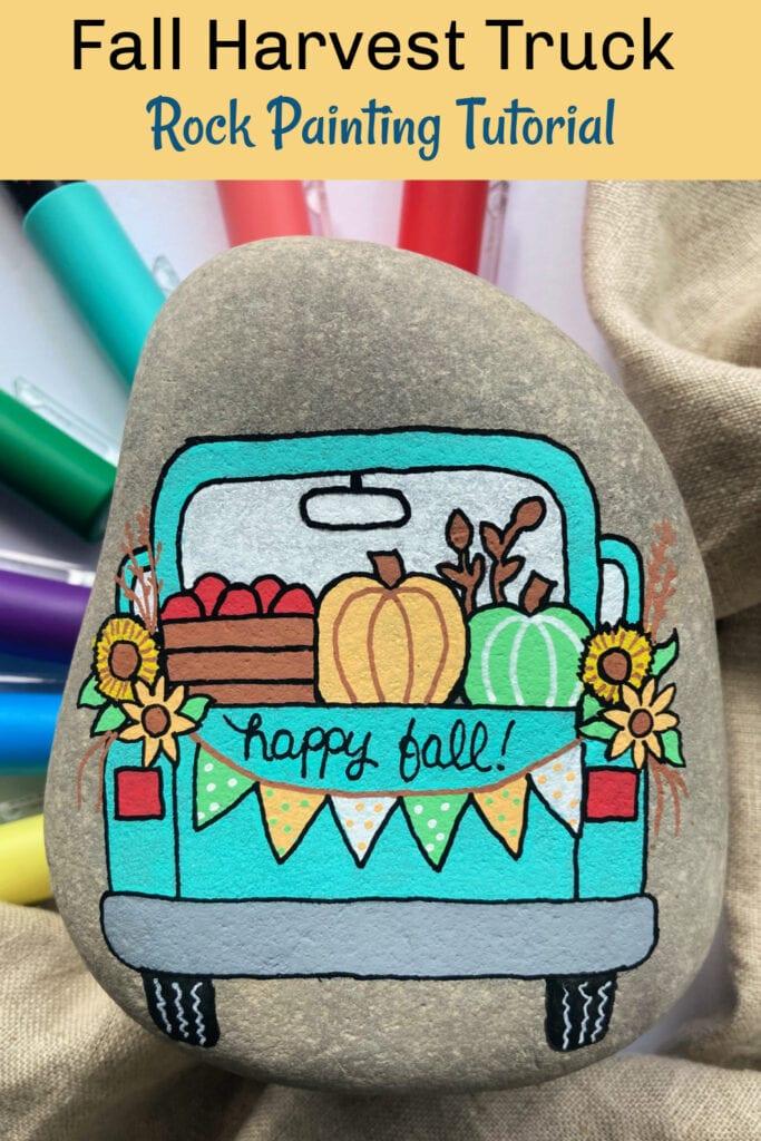 Fall Truck Painted Rock Tutorial