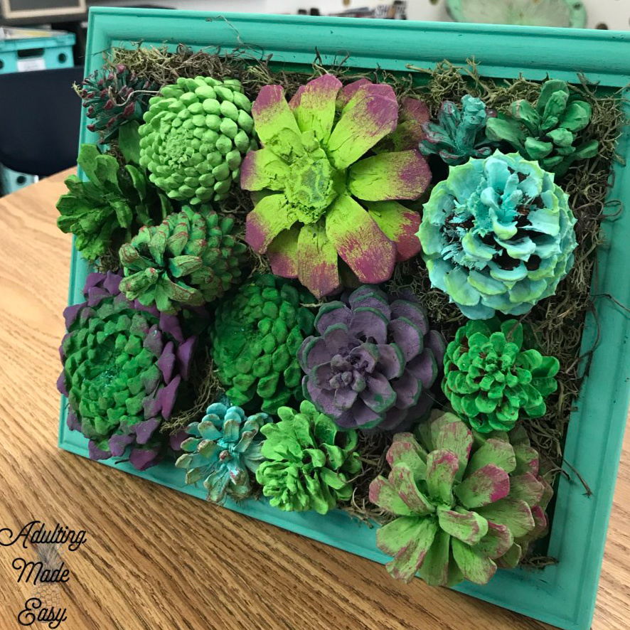 Pinecone Succulent Art Project