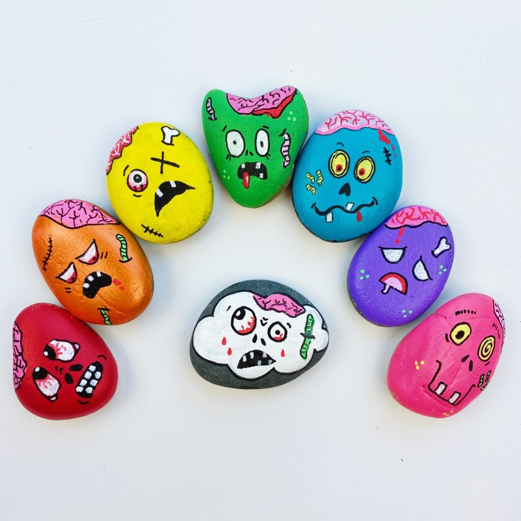 Zombie Painted Rocks Tutorial