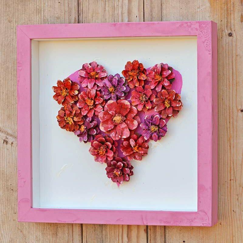Pinecone Flower Heart Craft