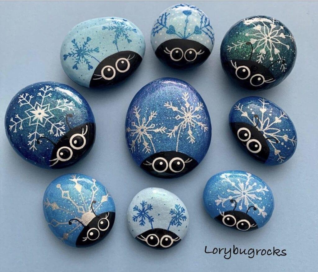Snowflake Painted Rocks