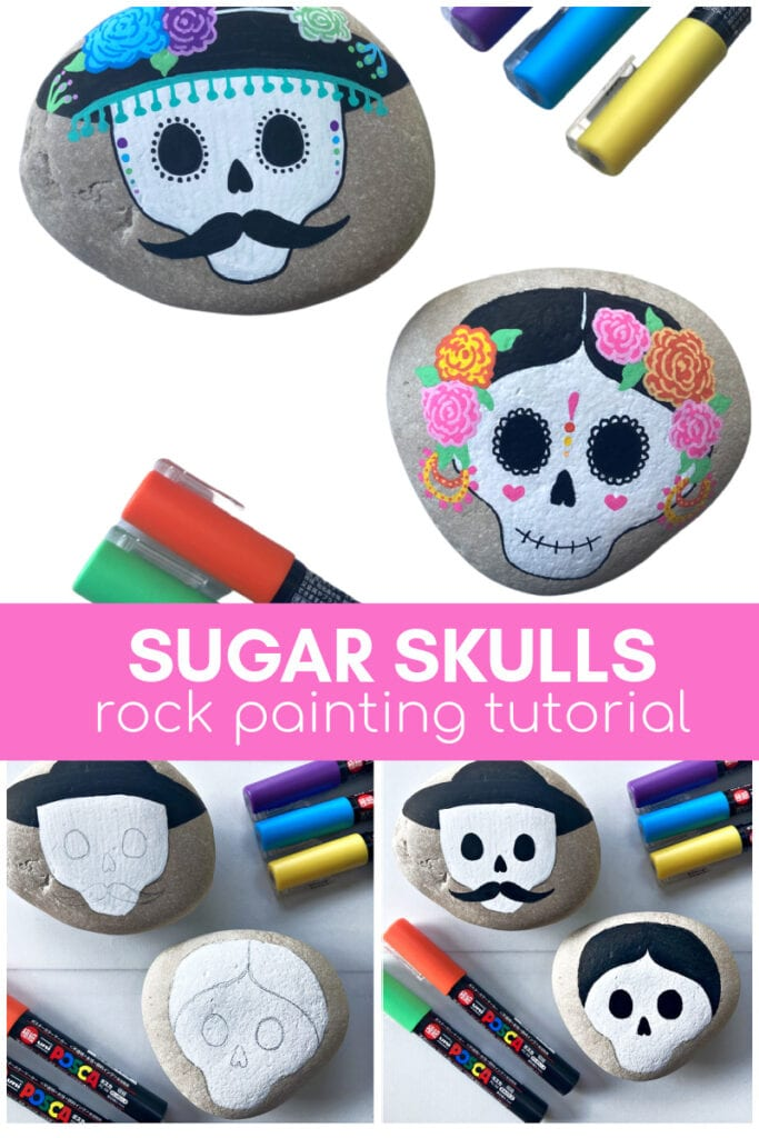 Sugar Skull Rock Painting Ideas Tutorial