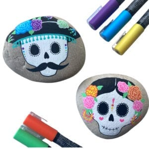 Sugar Skull Rock Painting Ideas thumbnail