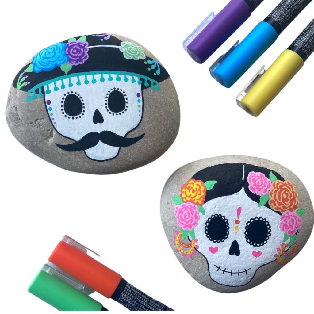 Sugar Skull Rock Painting Ideas