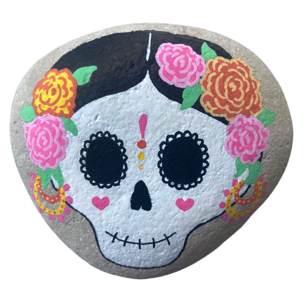 Sugar Skull Rock Painting