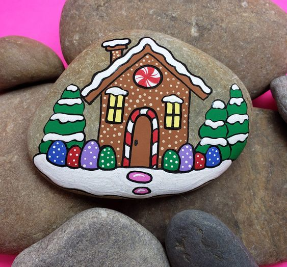 Gingerbread House Painted rock