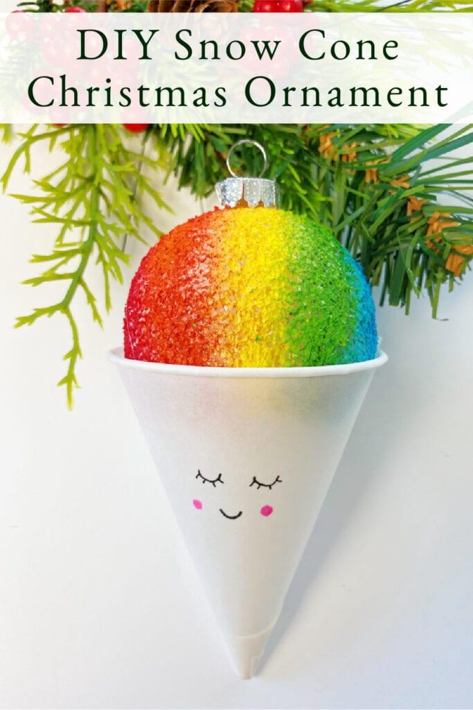 DIY Snow Cone Christmas Ornament Craft