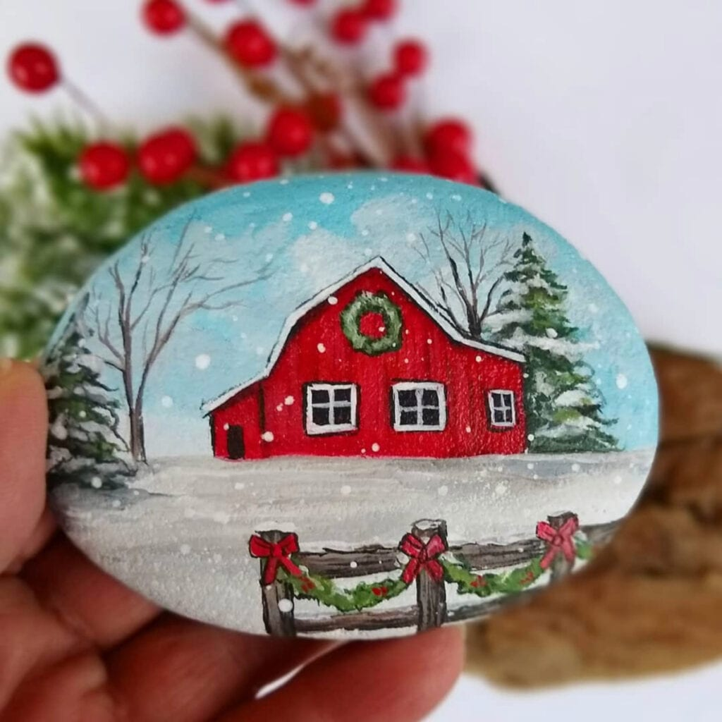 25 Christmas Rock Painting Ideas Color Made Happy
