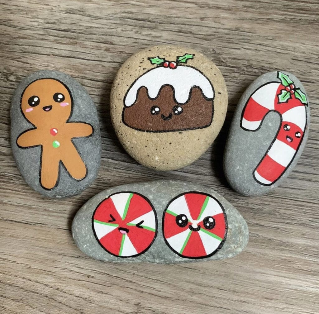 Easy Christmas Painted Rocks