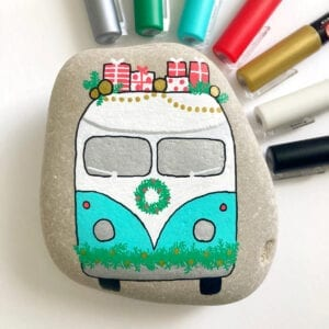 Christmas Painted Rock Volkswagen Bus thumbnail
