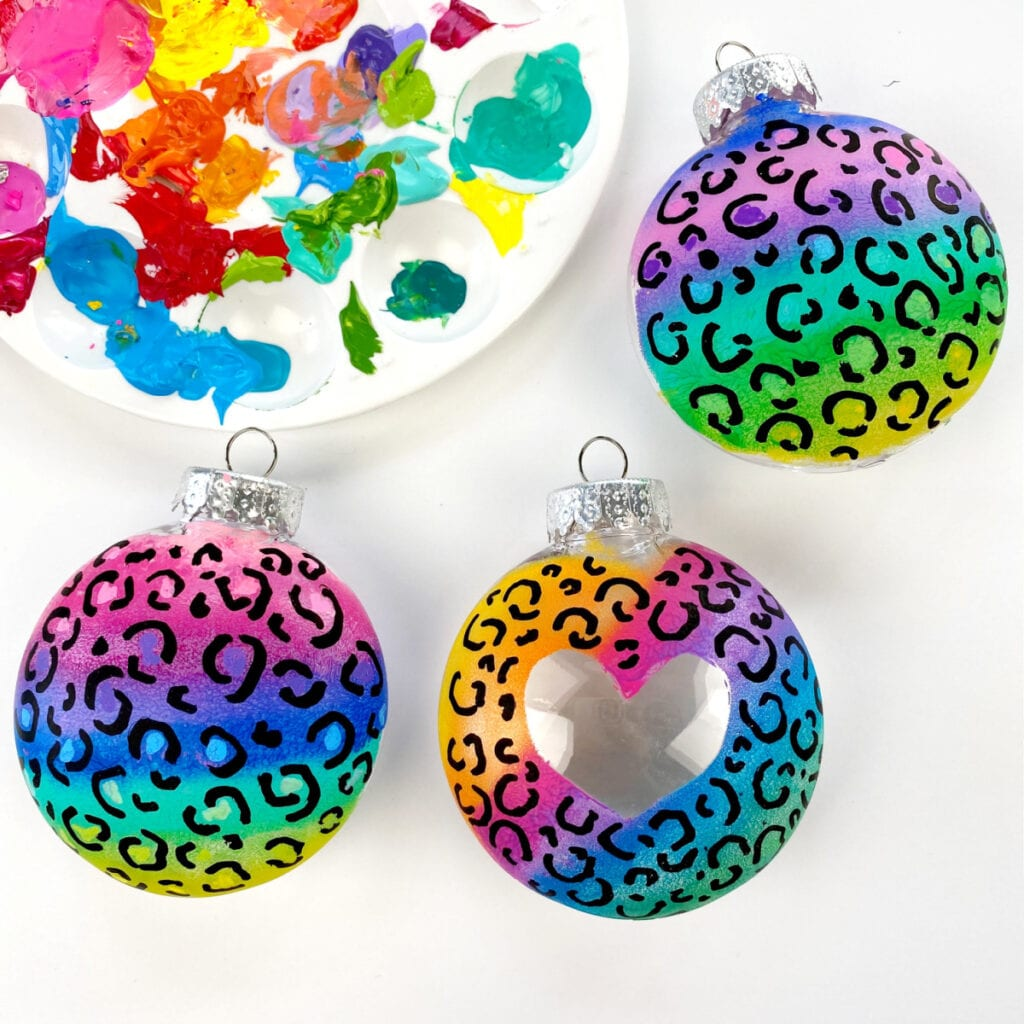 Lisa Frank Inspired Leopard Ornaments