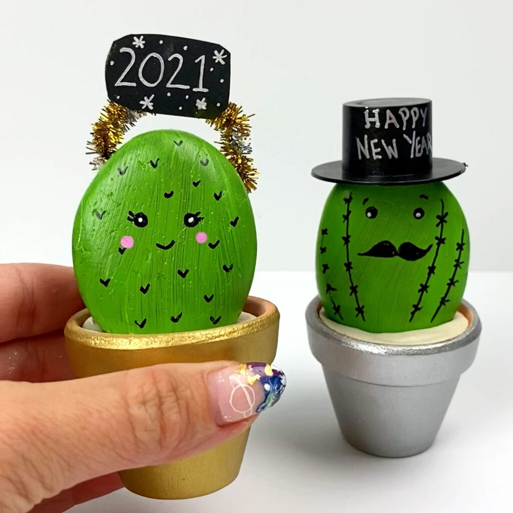 New Year's Craft Painted Rock Cactus