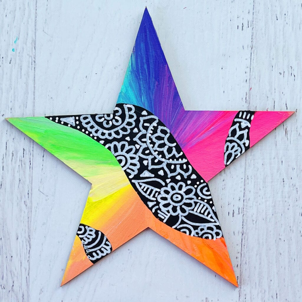 Abstract Star Painting Idea and Abstract Art Technique
