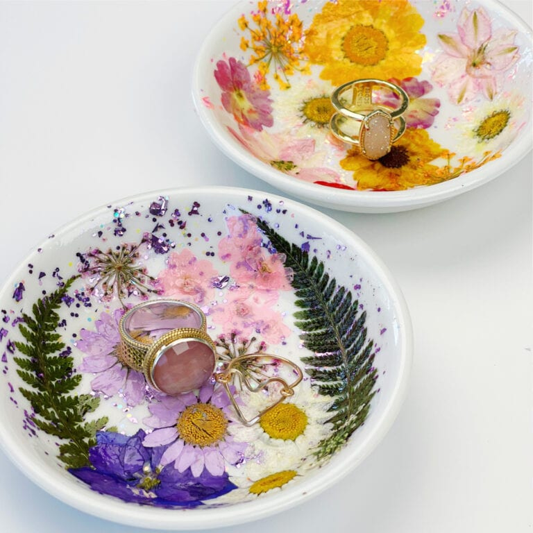 Dried Flower Ring Dish Pressed Flower Trinket dish