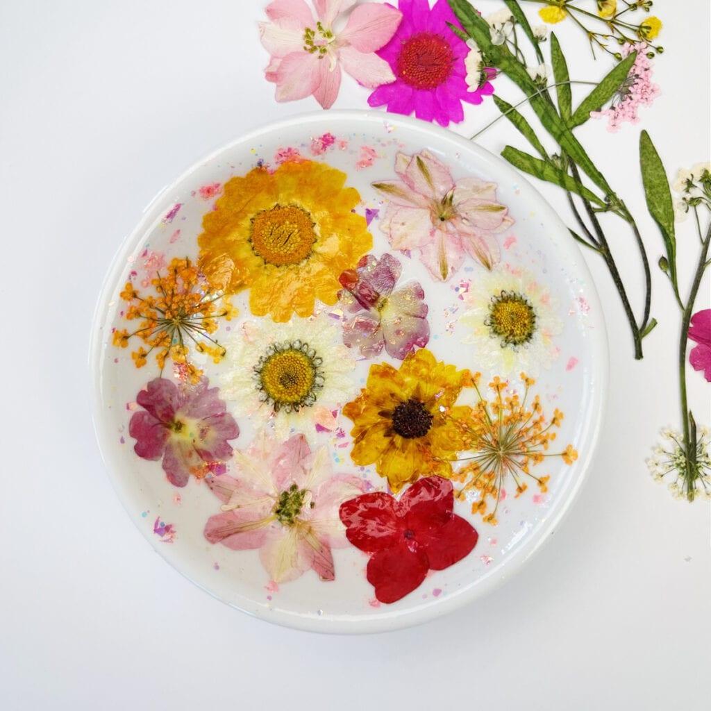 Dried Flower Ring Dish Pressed Flower Trinket dish